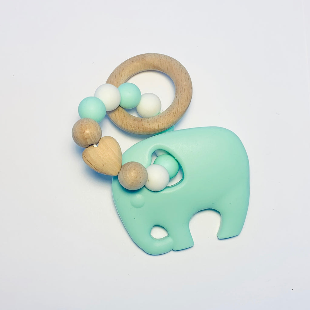 Silicone + Beechwood Teether- Elephant - Mint