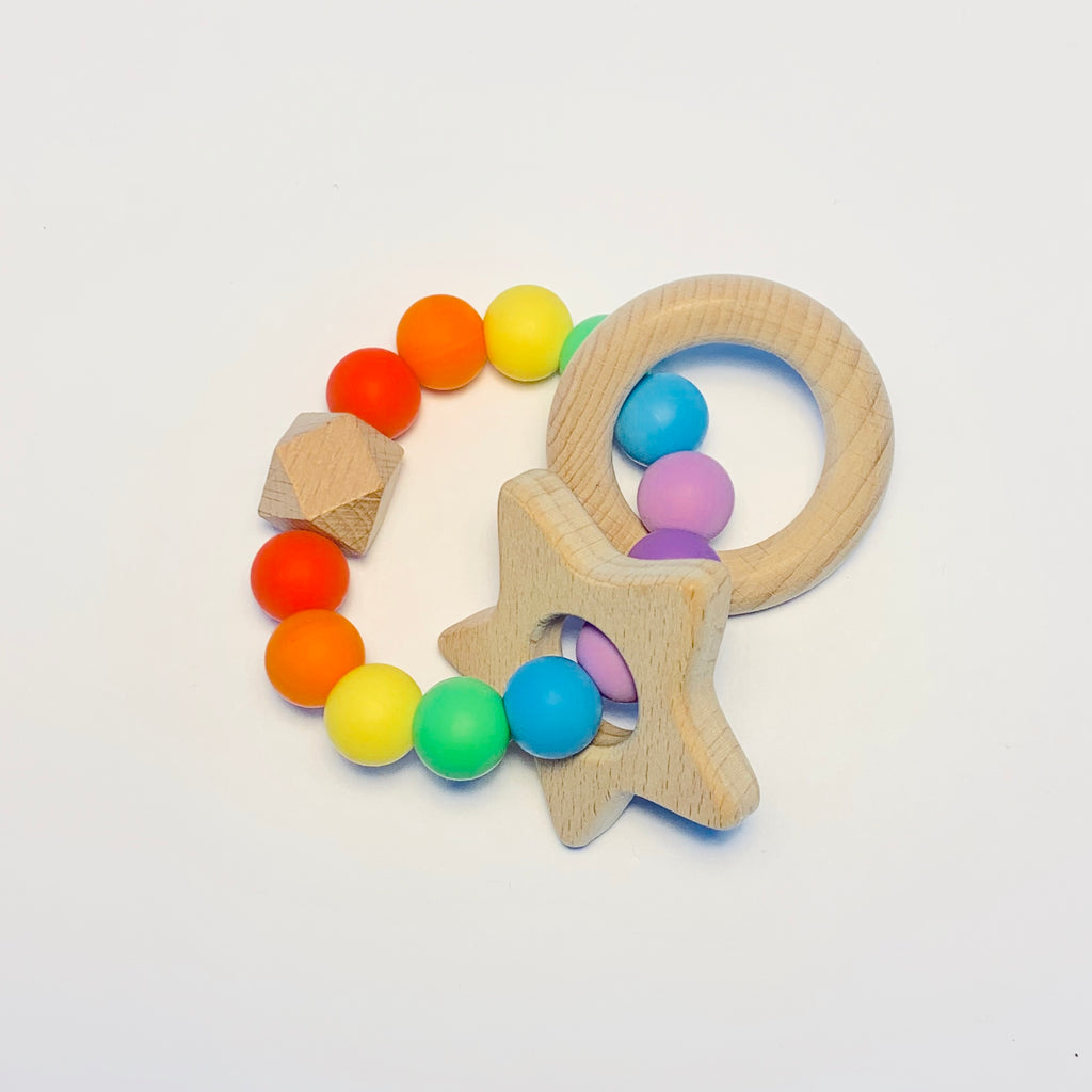 Silicone + Beechwood Teether - Rainbow Baby