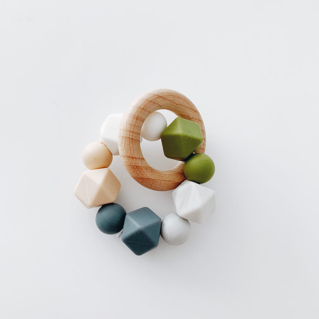 Silicone + Beechwood Teether- Multi - Grey