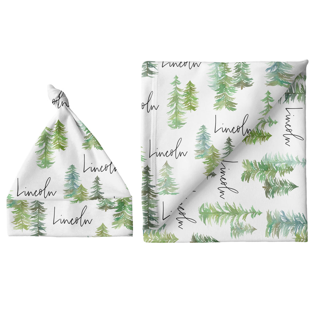 Small Blanket & Hat Set - Pine Tree