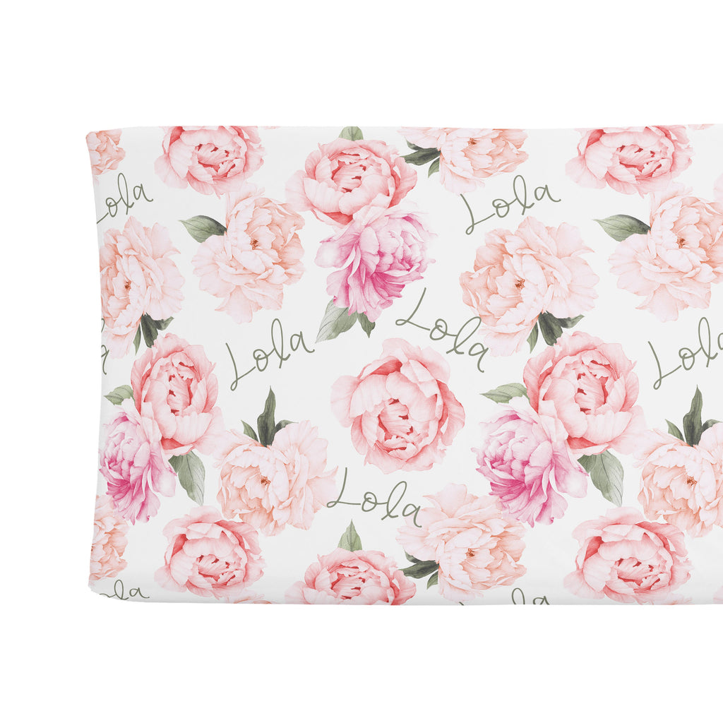 Changing Pad Cover - Peach Peony Blooms