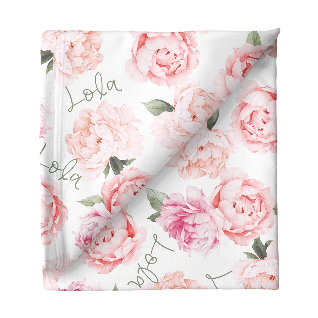 Large Stretchy Blanket - Peach Peony Blooms