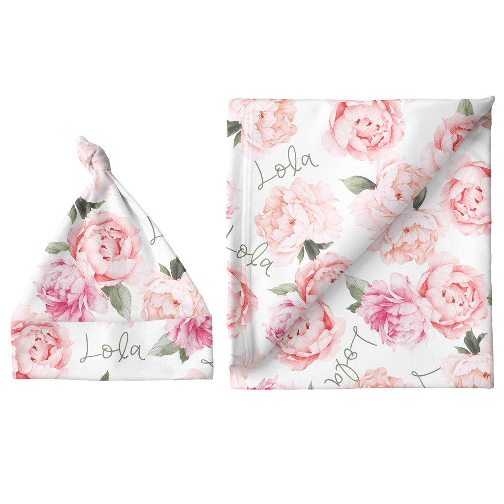 Small Blanket & Hat Set - Peach Peony Blooms
