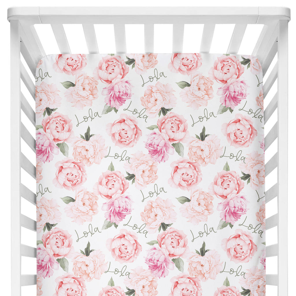 Crib Sheet - Peach Peony Blooms