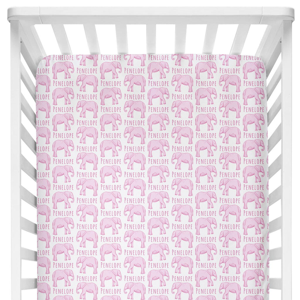 Crib Sheet - Elephant Pink