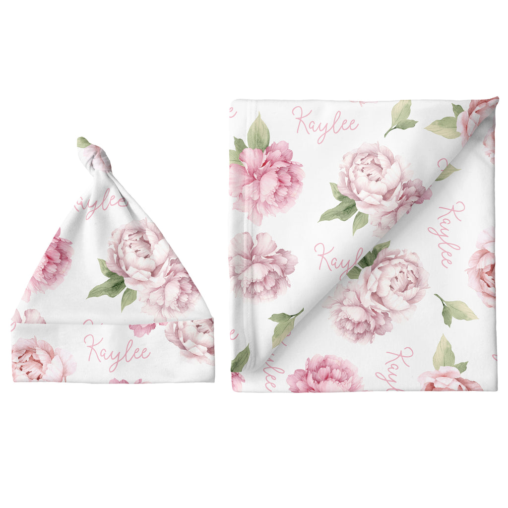 Small Blanket & Hat Set - Pink Peonies
