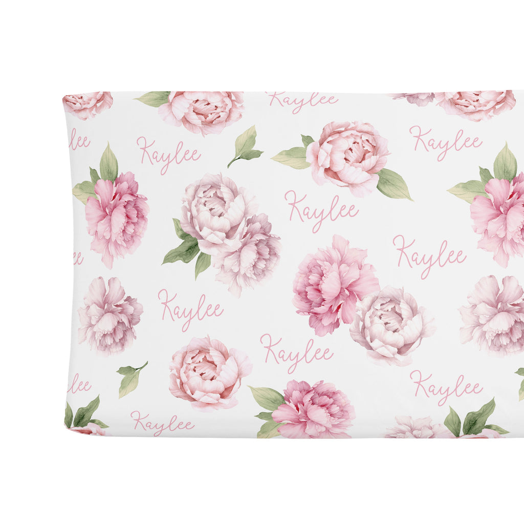Changing Pad Cover - Pink Peonies