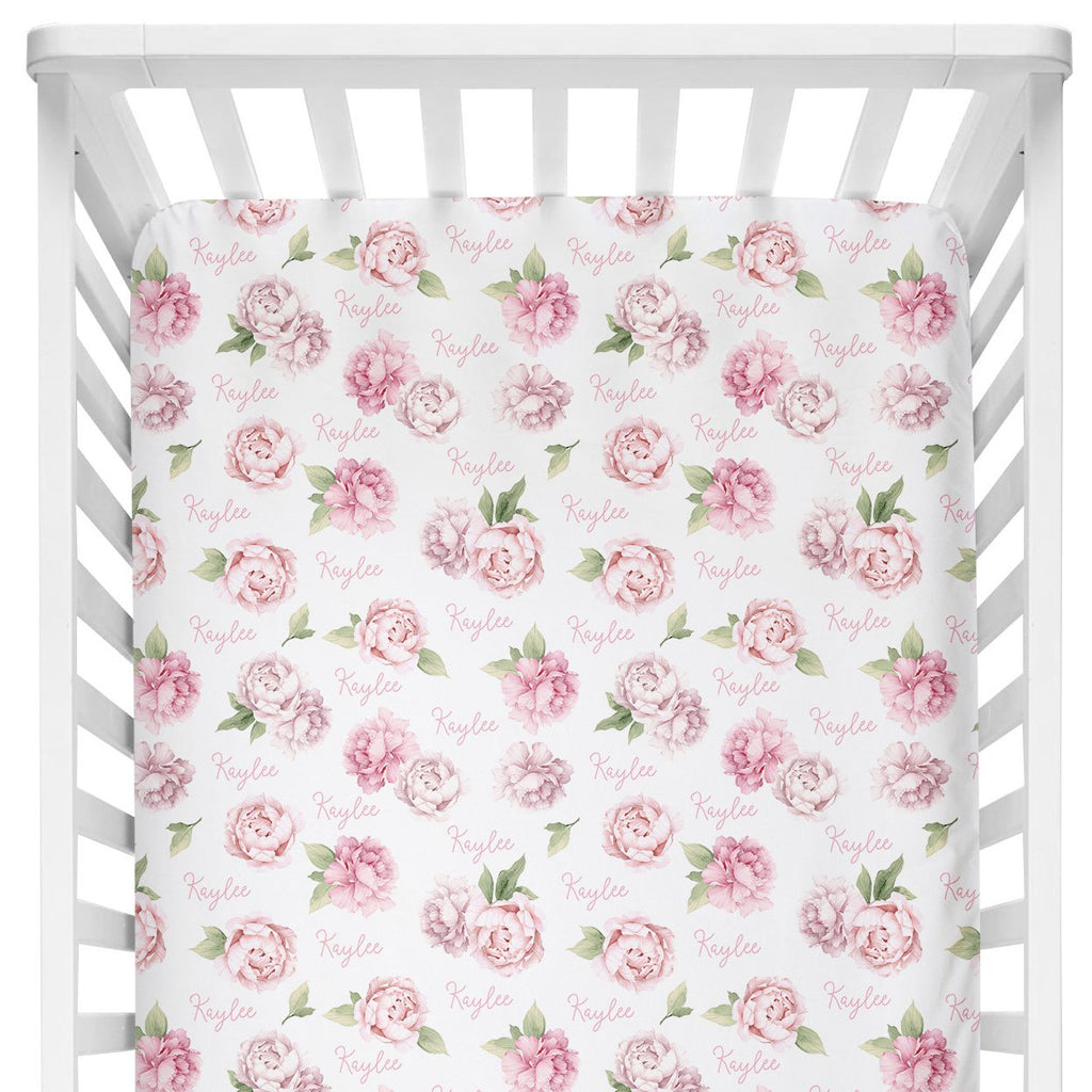 Crib Sheet - Pink Peonies