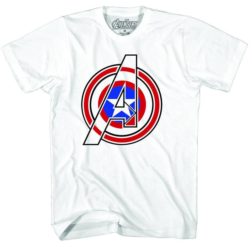 "CAPTAIN AMERICA: ""COMBINED ICONS"" WHITE T-SHIRT"