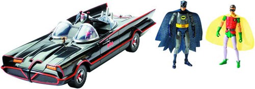 1966 BATMAN TV SERIES BATMOBILE - W/ ACTION FIGURES