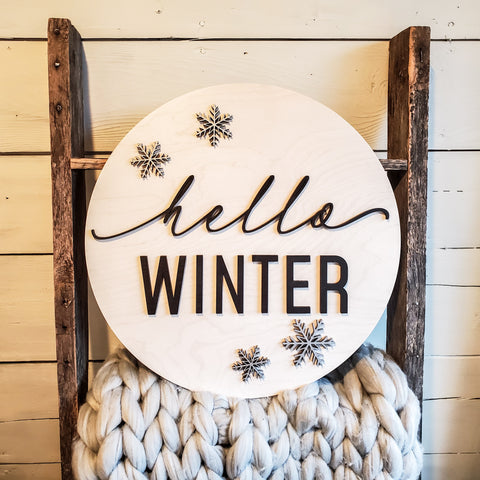 Hello Winter Door Sign