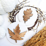 Wood Leaf Sign for Fall Tiered Tray Decor