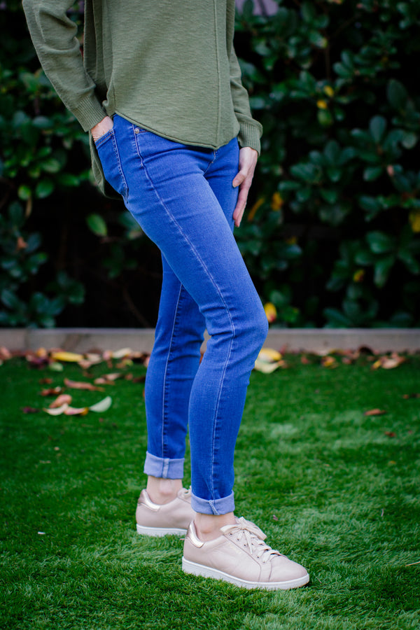 High Waist Blue Jeans Skinny Leg