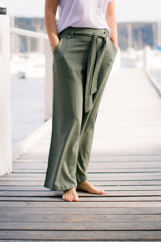 Emma Wide Leg Pants in Jade