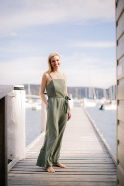 Olivia Jumpsuit in Jade Ruched Back