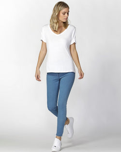 MANHATTAN V-NECK TEE WHITE