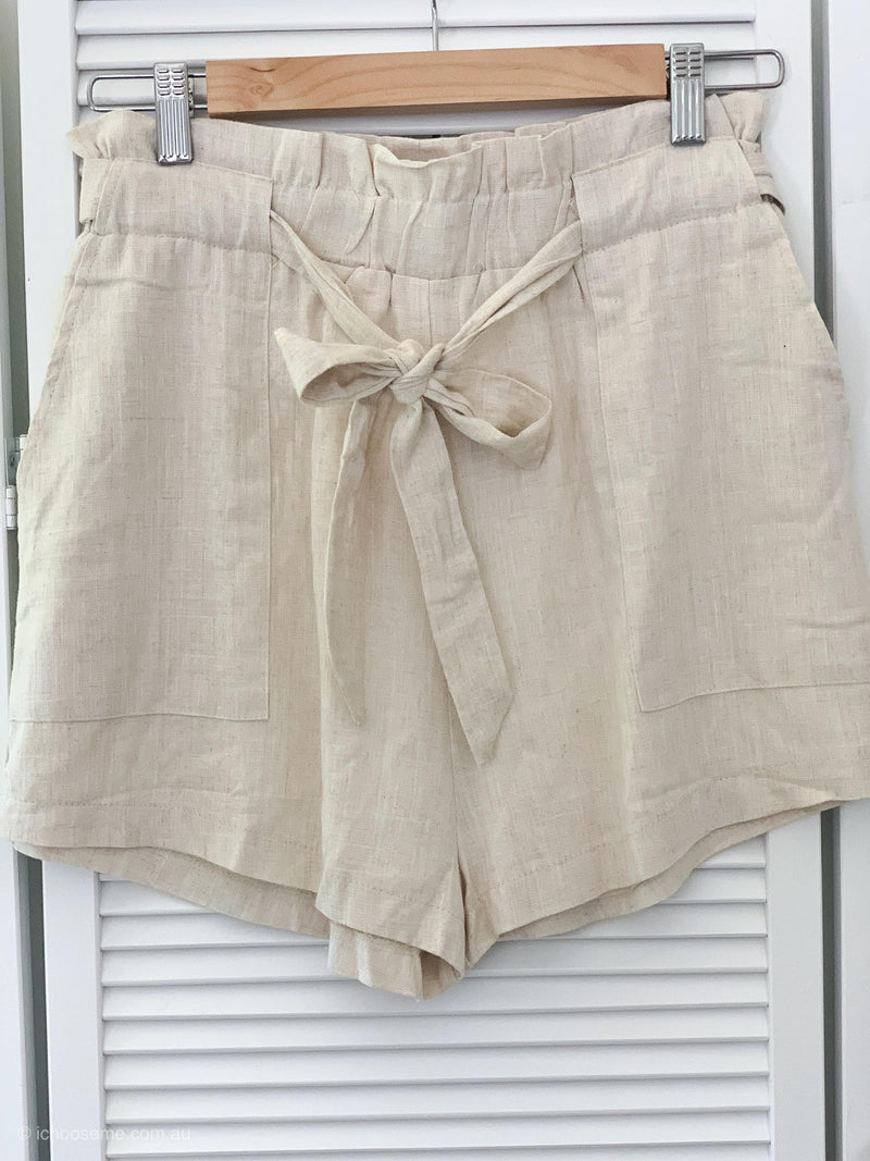 Emily Natural Linen Blend Shorts
