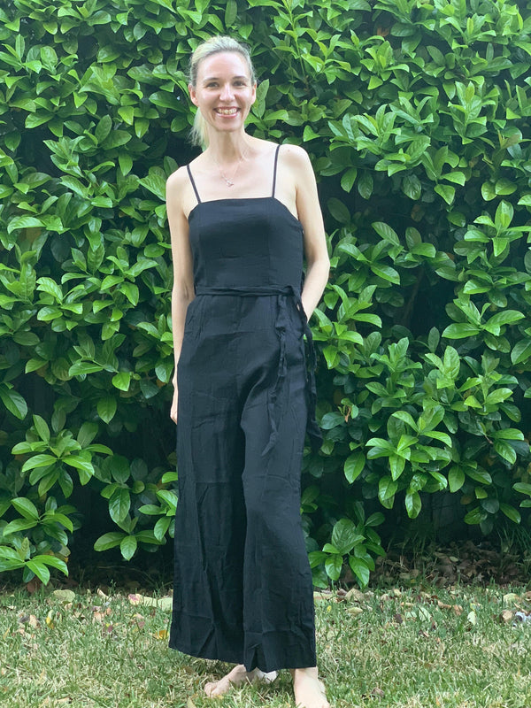 Olivia Jumpsuit in Black Ruched Back