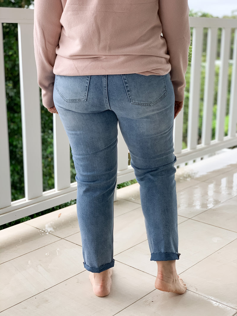 Taylor Mum Jeans with Rips
