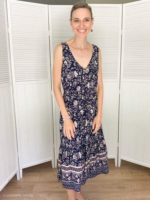 Natalie Dress in Navy Floral
