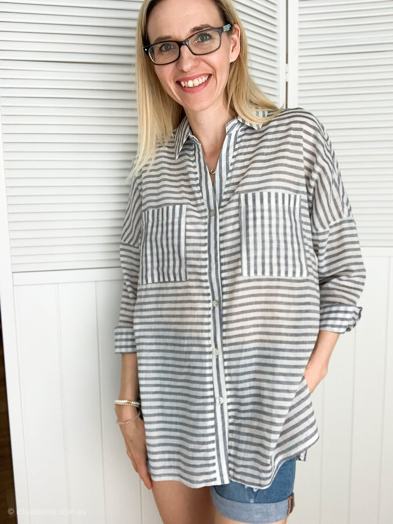Light cotton blue stripe shirt