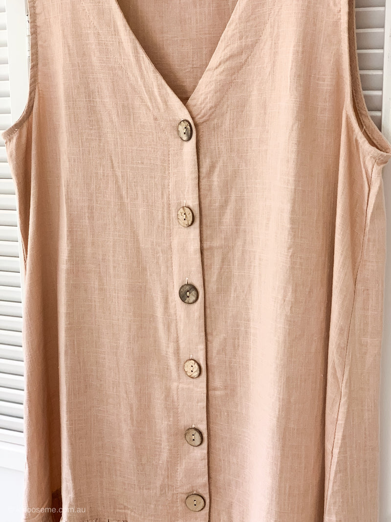 Amber Button Down Dress in Pink - Only size 8 left!