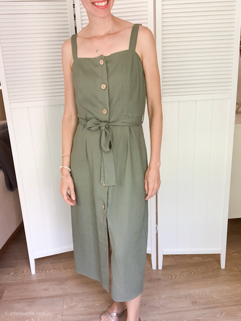 Grace Button Dress in Jade