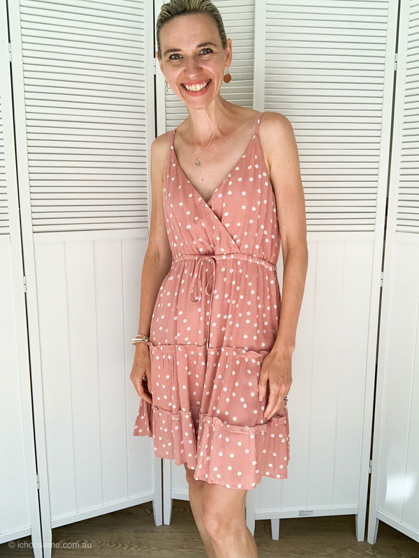 Lizzie Dress in Pink Polka Dot