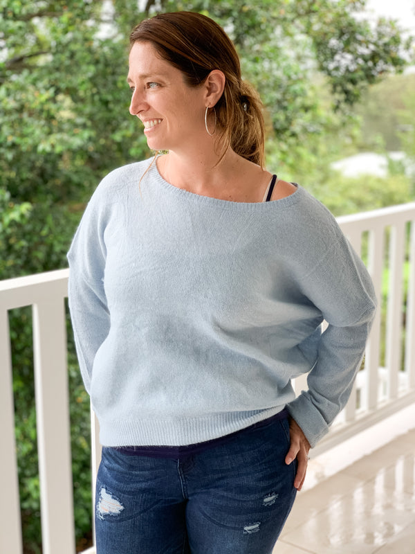 Sarah Knit Top in Sky Blue