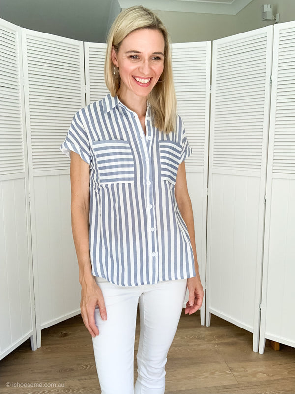 Brooklyn Shirt in blue stripe