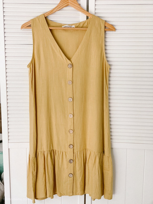 Amber Button Down Dress in Mustard - size 12 only left