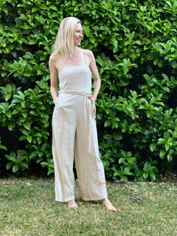 Olivia Jumpsuit in Natural Ruched Back