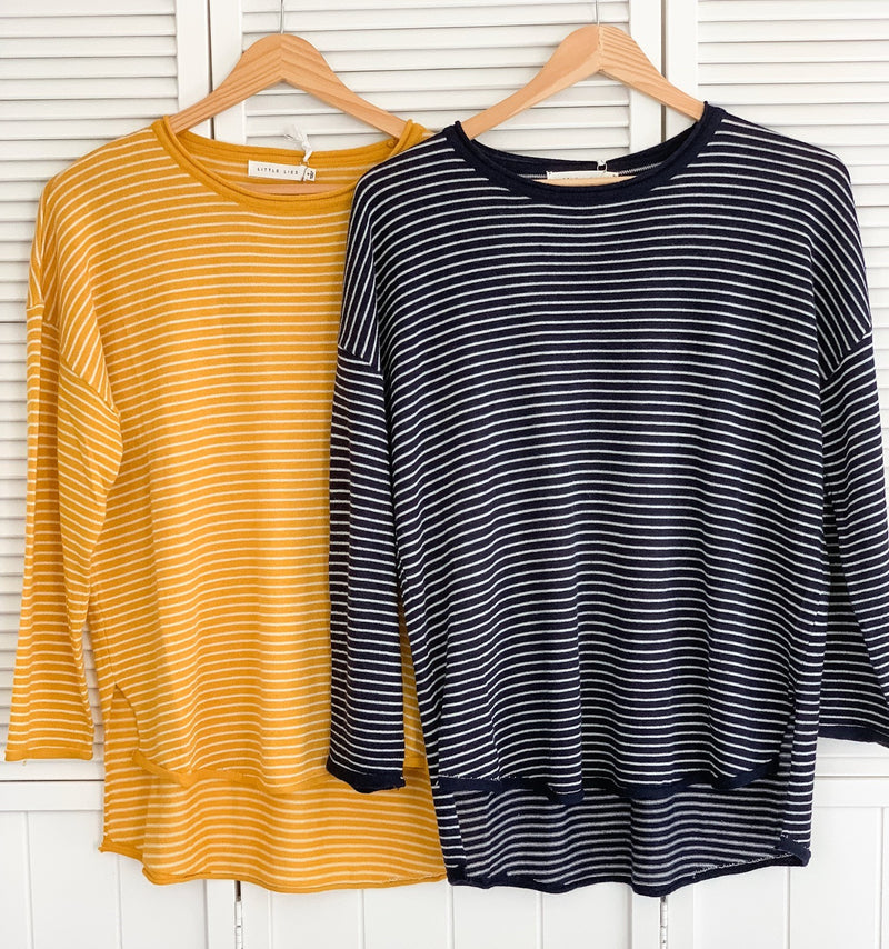 Stripe Basic Knit Tee Mustard/White