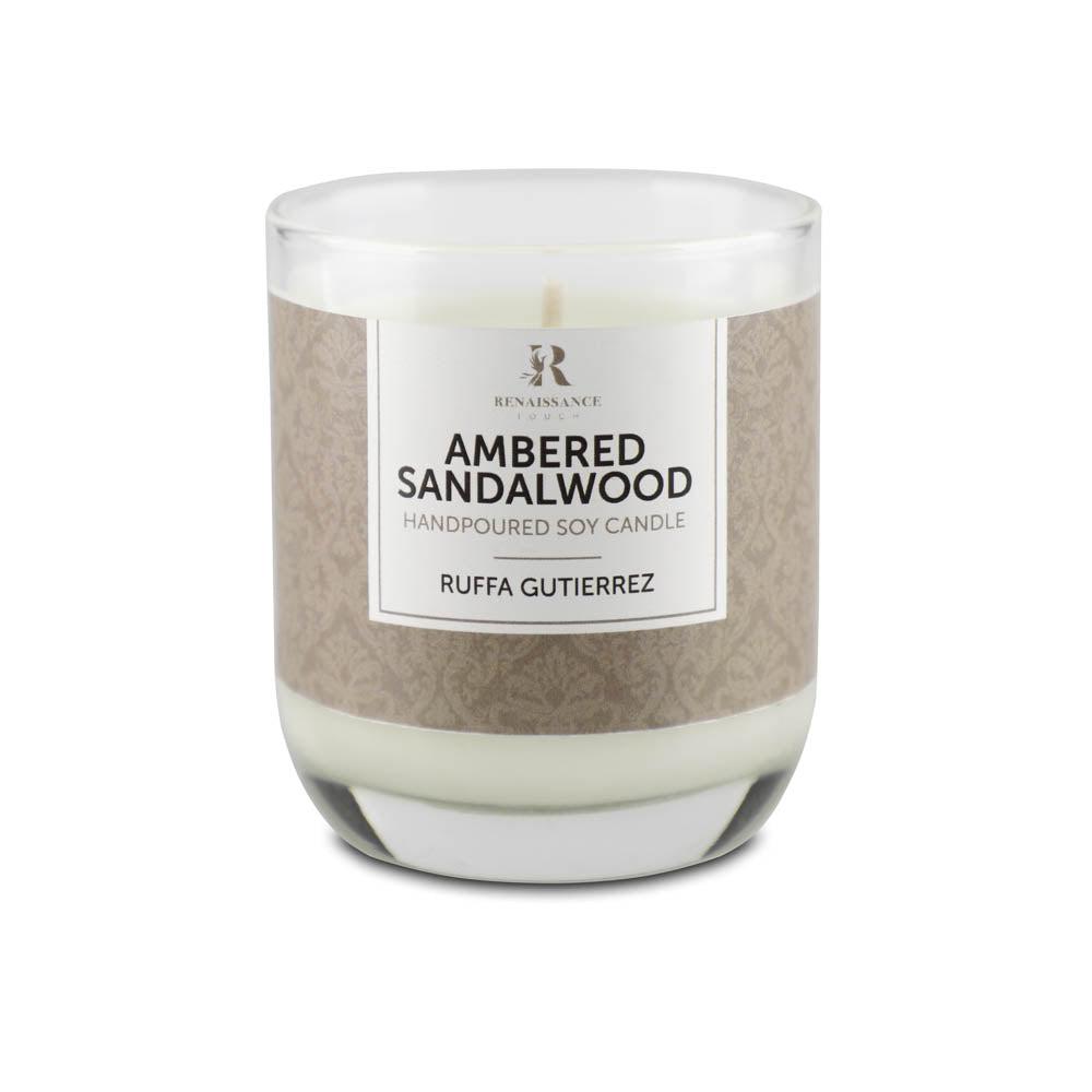Amber Sandalwood (Hand Poured Soy Candle) - Medium Glass Jar