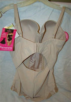 NEW Flexees Easy Up Strapless Firm Control Bodybriefer 1256 Beige 36D #34261