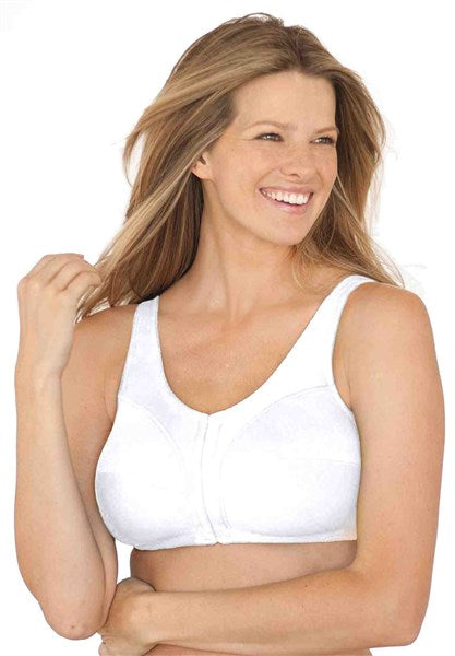 NEW 46C Comfort Choice Wirefree Front Hook Seamless Leisure Bra White #72382
