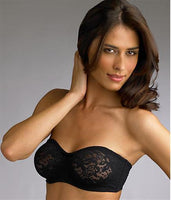 NEW Wacoal Halo Lace Strapless Black Bra 34B Underwire 854205 Free Ship #73886