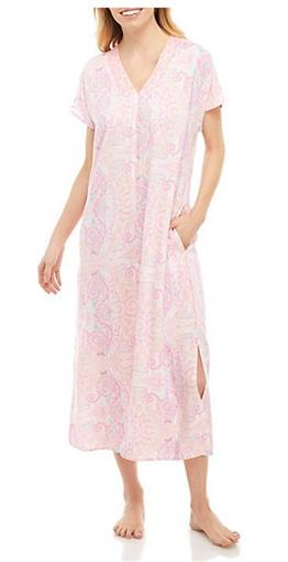NEW Miss Elaine Rayon Zip Up Kaftan Robe 864789 Pink Paisley Petite Small #74098