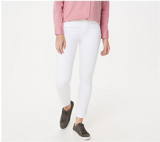 NEW Martha Stewart Knit Denim Zipper Ankle Jeans Petite 8 White #75368