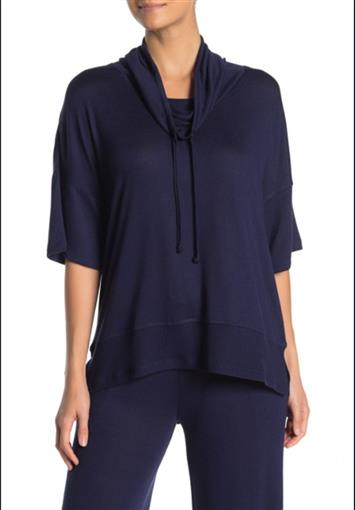 New N by Natori NVious French Terry Pullover Top GC5203 Navy Small #77033