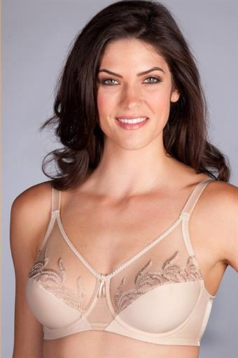 NWT Wacoal 36B Feather 85121 Embroidery Underwire Bra Beige #77353