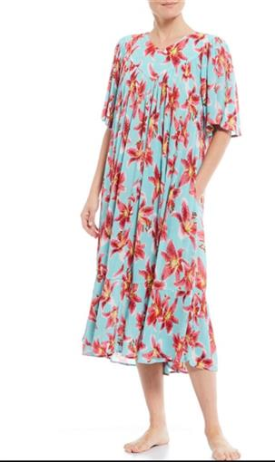 NEW Go Softly M Patio Dress Kaftan Blue Radiance Pink Lily Floral #77551