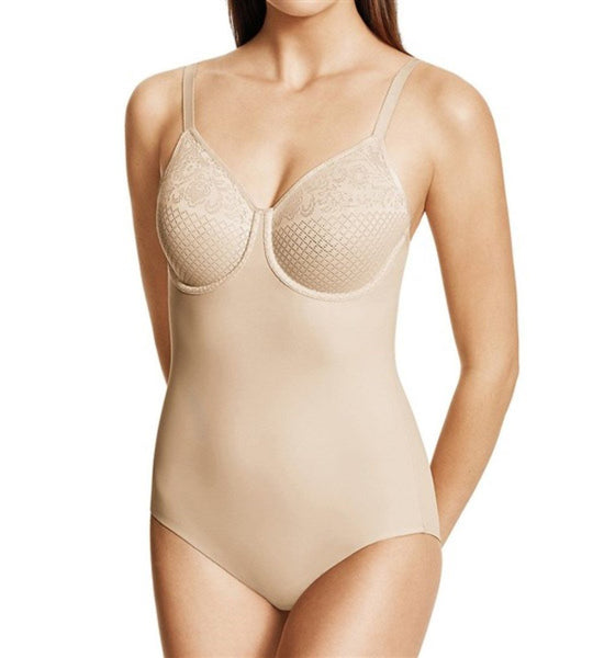NWT Wacoal 38D Visual Effects Moderate Minimizing Bodysuit 801210 Beige 77885