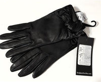NEW Badgley Mischka Bow Tie Leather Touchscreen Gloves SM Black #78236