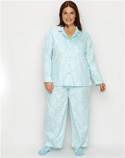 New Karen Neuburger Girl Friend Scroll Aqua Pajamas XL #76805