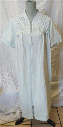 Miss Elaine M French Terry Zip-Front Short Robe 369928 Blue roses #79083