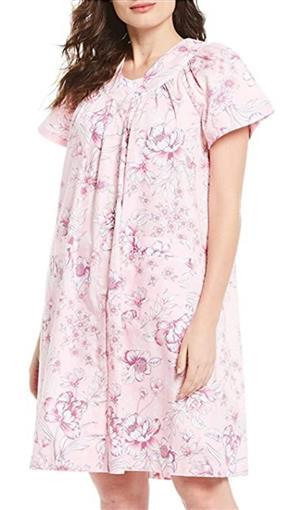 New Miss Elaine Pink Floral Print Sateen Grip-Front Short Robe 3X #77041