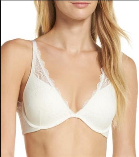 SPANX 34D Undie-tectable Lace Personalized Push-up Plunge Bra 30030 Ivory #78897