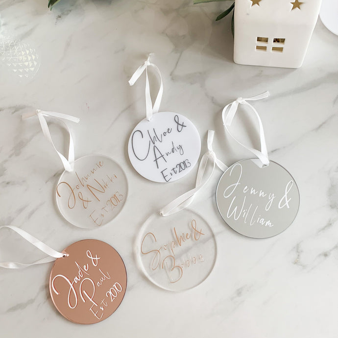 Personalised Couples Christmas Bauble