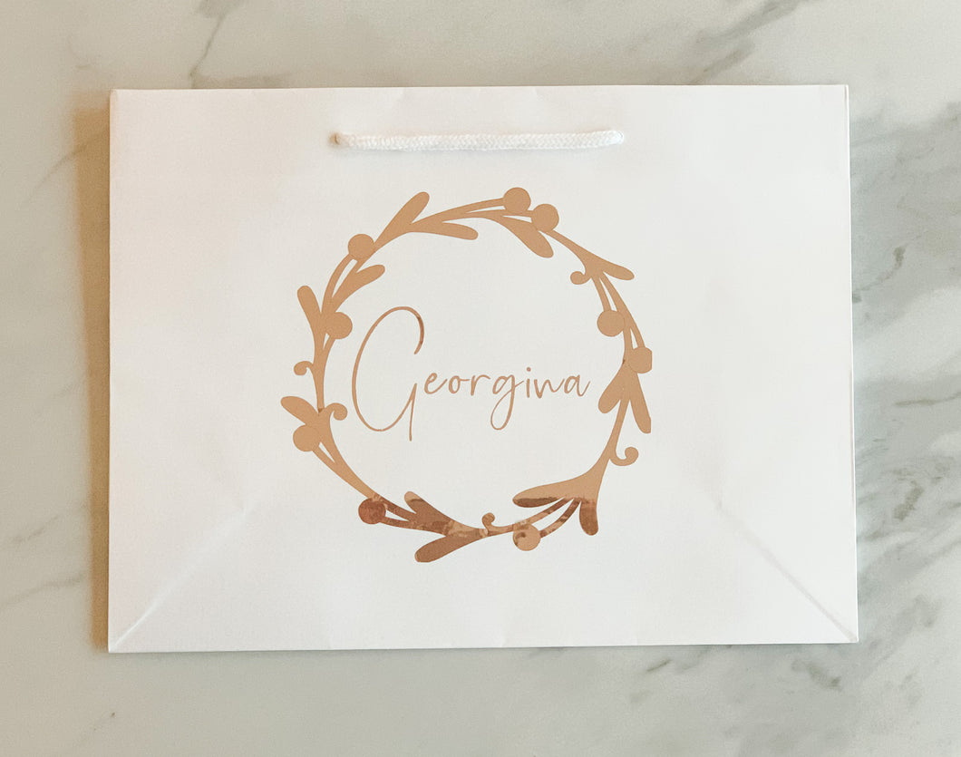 Personalised Christmas Wreath Gift Bag- Various sizes